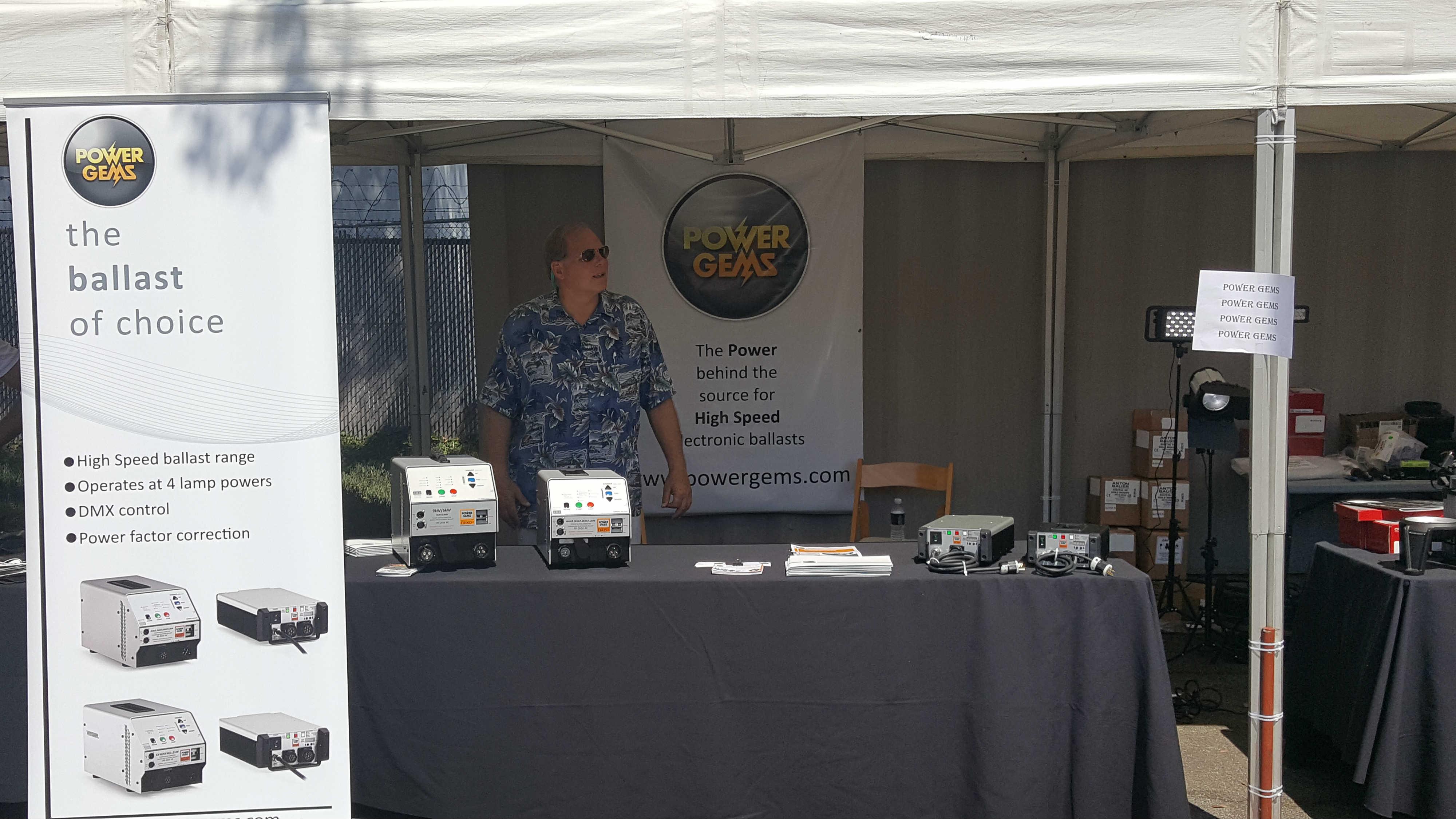 Power Gems booth manned by Chip Harley, at Matthews Garage Sale